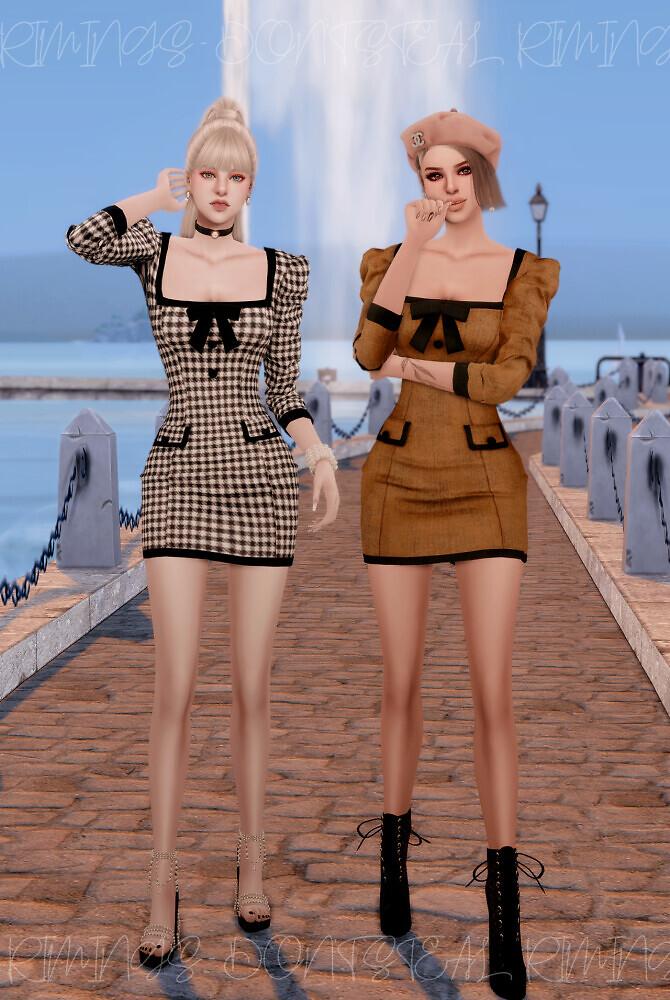 Sims 4 Square Neck Girlish Dress at RIMINGs
