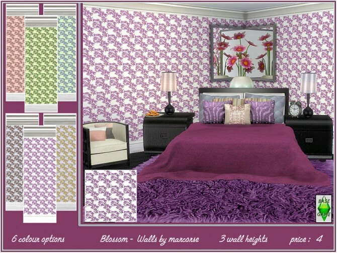 Sims 4 Blossom walls by marcorse at TSR