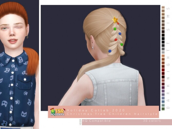 Sims 4 Christmas Tree Hairstyle for Kids Holiday Wonderland by DarkNighTt at TSR