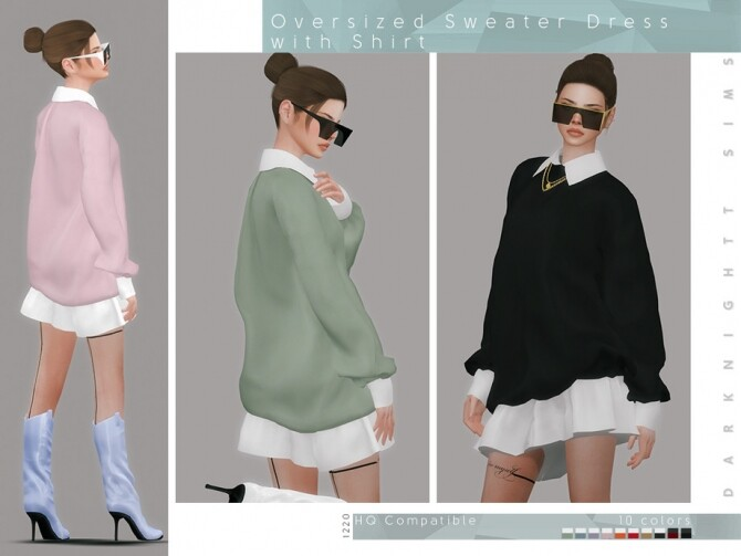 Sims 4 Oversized Sweater Dress with Shirt by DarkNighTt at TSR