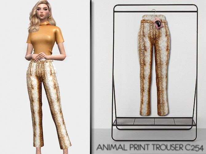 Sims 4 Set Animal Print Trouser C254 by turksimmer at TSR