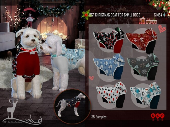 Sims 4 DSF CHRISTMAS COAT FOR SMALL DOGS by DanSimsFantasy at TSR