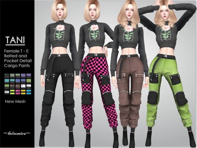 Sims 4 TANI Belted Cargo Pants by Helsoseira at TSR