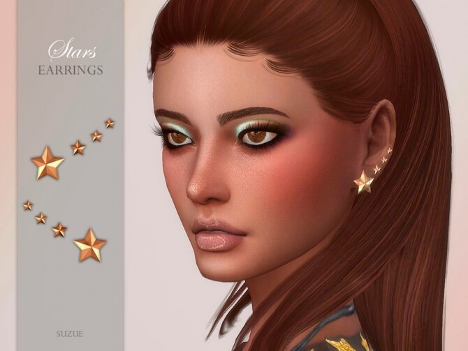 Sims 4 Stars Earrings by Suzue at TSR