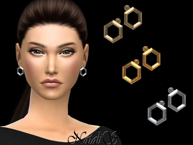 Sims 4 Hexagon stud earrings by NataliS at TSR