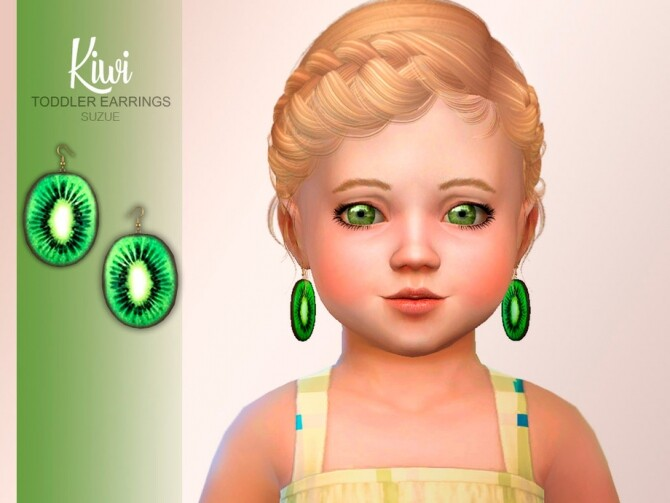 Sims 4 Kiwi Toddler Earrings by Suzue at TSR
