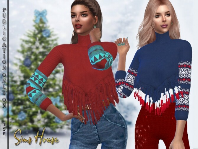 Sims 4 Long Fringe Sweater by Sims House at TSR