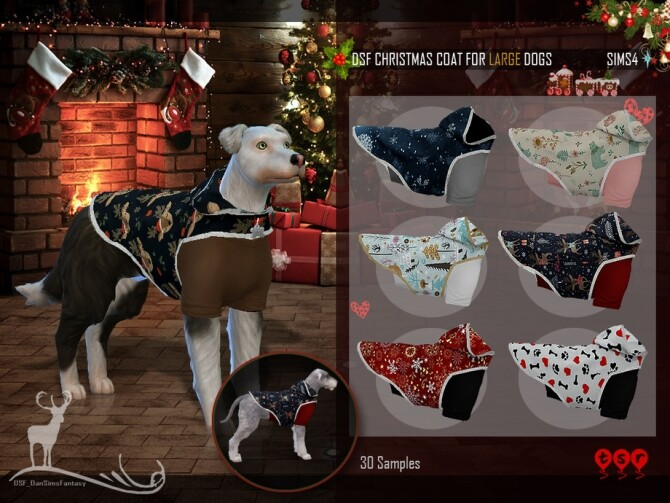 Sims 4 DSF CHRISTMAS COAT FOR LARGE DOGS by DanSimsFantasy at TSR