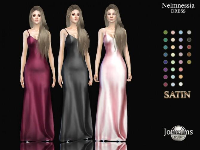 Sims 4 Nelmnessia satin dress by  jomsims at TSR