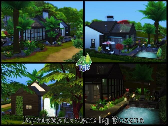 Sims 4 Japanese modern house by bozena at TSR