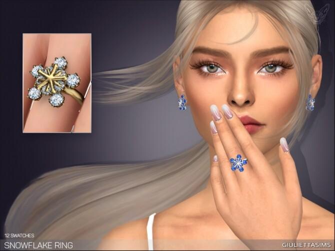 Sims 4 Snowflake Ring by feyona at TSR