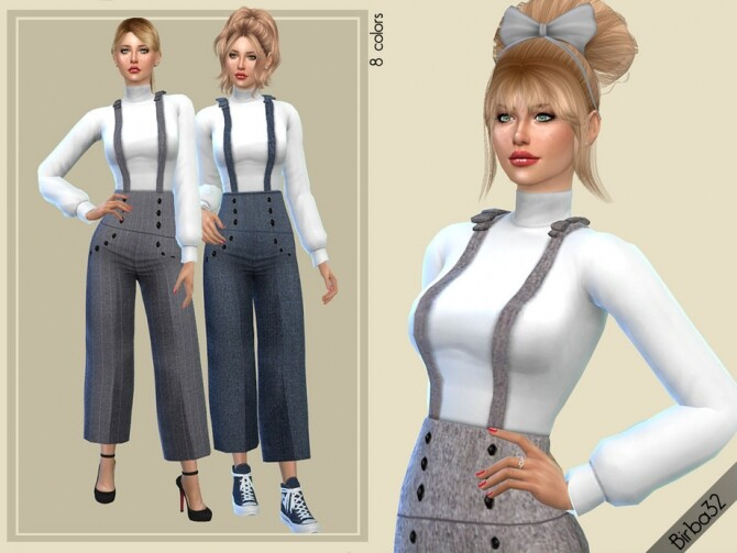 Sims 4 Wide Salopette by Birba32 at TSR