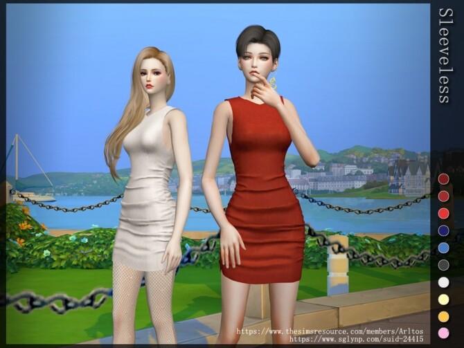 Sims 4 Sleeveless dress by Arltos at TSR