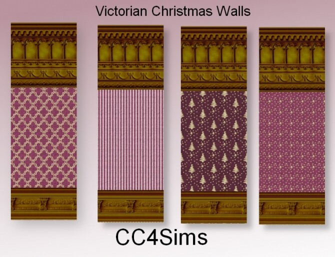 Sims 4 Victorian Christmas walls by Christine at CC4Sims
