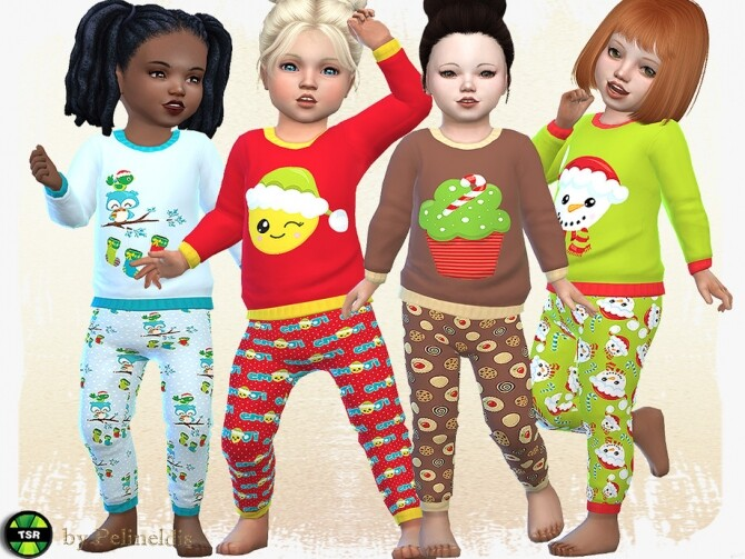 Sims 4 Toddler Christmas PJ by Pelineldis at TSR