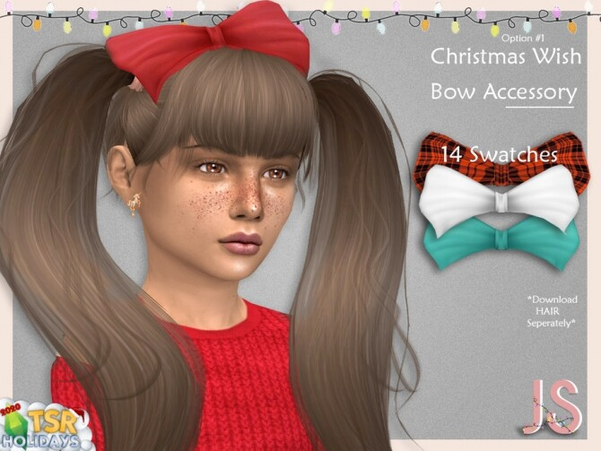 Christmas Wish Hair Bow Acc 1 Holiday Wonderland by JavaSims
