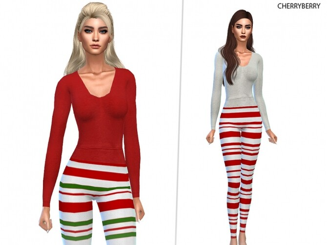 Sims 4 Elf Christmas PJs by CherryBerrySim at TSR