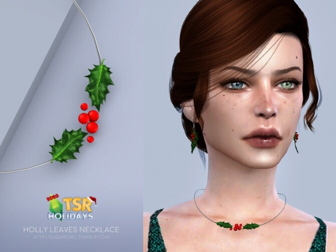 Sims 4 Holly Leaves necklace Holiday Wonderland by sugar owl at TSR