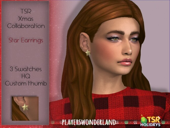 Sims 4 Star Earrings Holiday Wonderland 2020 by PlayersWonderland at TSR