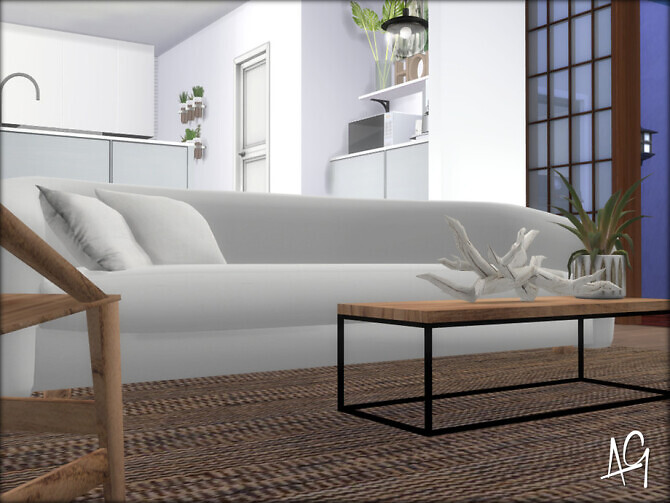 Sims 4 Zen Living Room by ALGbuilds at TSR
