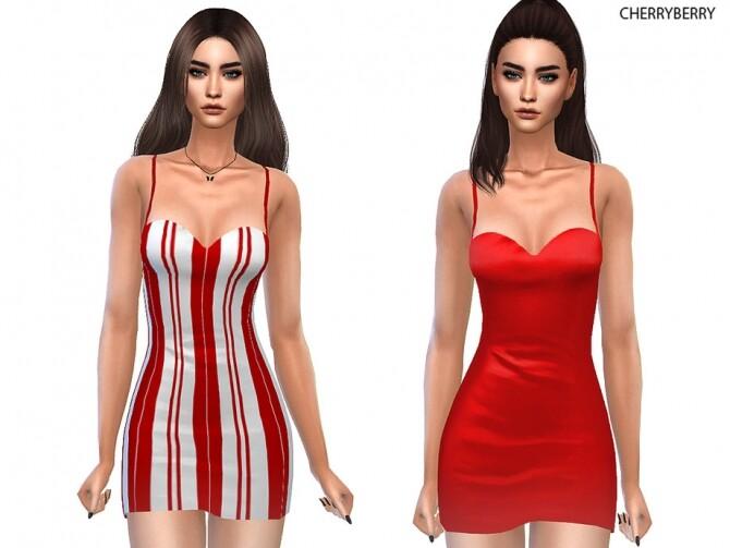 Sims 4 Candy Cane Mini dress by CherryBerrySim at TSR