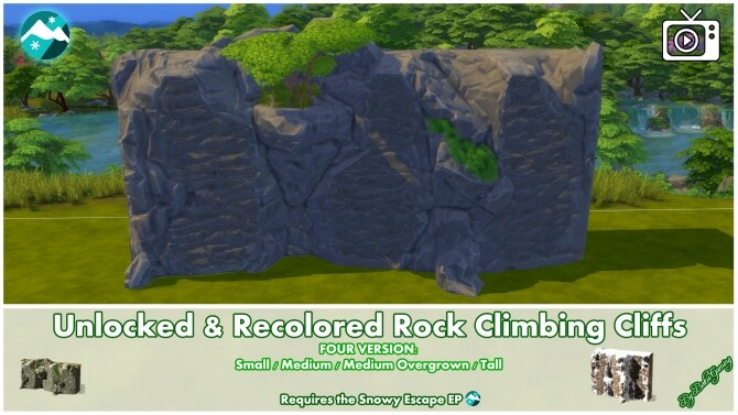 Sims 4 Rock Climbing Cliffs Unlocked & Recolored by Bakie at Mod The Sims