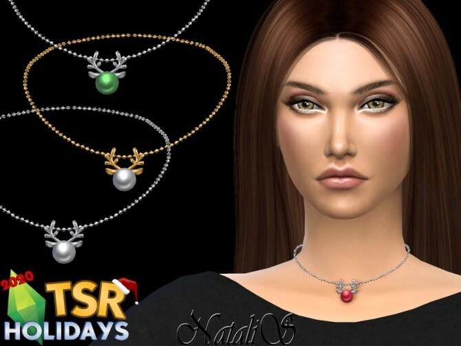 Sims 4 Xmas reindeer choker Holiday Wonderland by NataliS at TSR