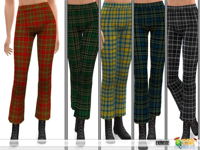 Sims 4 Plaid Crop Flare Pants Holiday Wonderland by ekinege at TSR