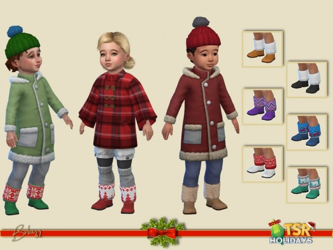 Sims 4 Christmas boots F/M toddlers Holiday Wonderland by Birba32 at TSR