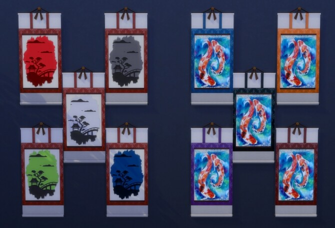 Sims 4 Japanese Inspired Scroll Art by Wykkyd at Mod The Sims