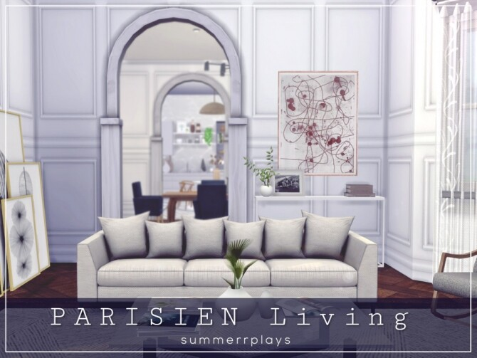 Sims 4 Parisien living room by Summerr Plays at TSR