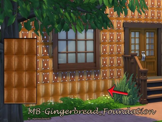 Sims 4 MB Gingerbread Wall and Foundation SET by matomibotaki at TSR