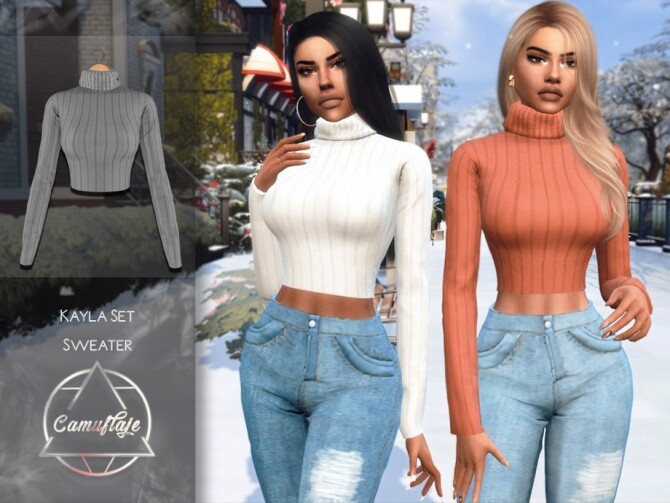 Sims 4 Kayla Sweater by Camuflaje at TSR