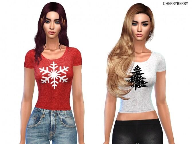Sims 4 Holiday T shirt by CherryBerrySim at TSR