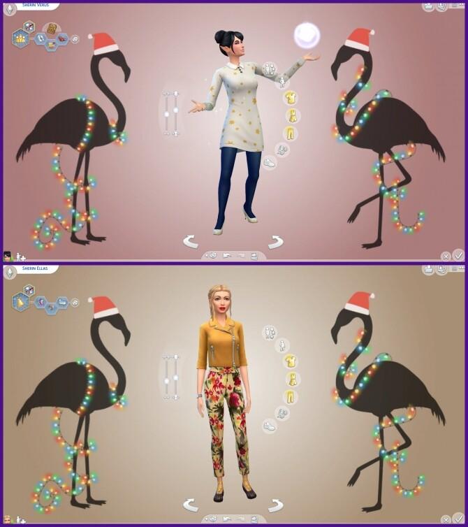 Sims 4 Custom CAS Christmas Flamingos at CappusSims4You