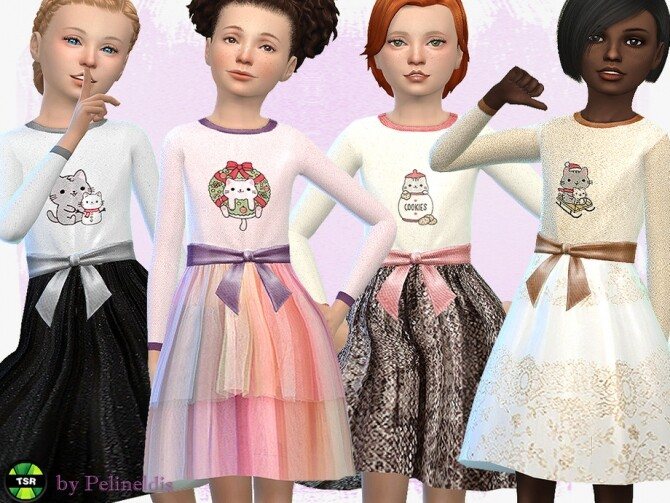 Sims 4 Festive Dress Christmas Cat by Pelineldis at TSR