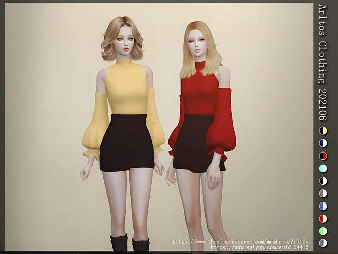 Sims 4 Top & skirt outfit 202106 by Arltos at TSR