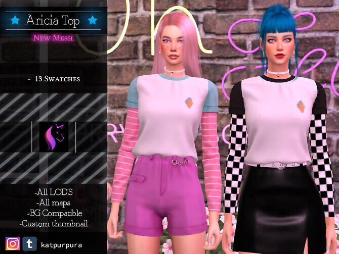 Sims 4 Aricia Top by KaTPurpura at TSR