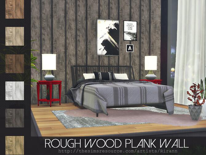 Sims 4 Rough Wood Plank Wall by Rirann at TSR