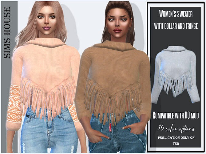 Sims 4 Sweater with collar and fringe by Sims House at TSR