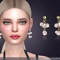 Pearl Cluster Drop Earrings By Feyona