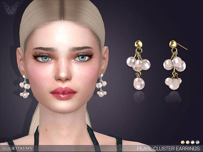 Sims 4 Pearl Cluster Drop Earrings by feyona at TSR