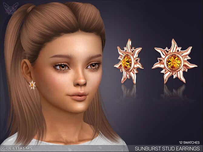 Sims 4 Sunburst Stud Earrings For Kids by feyona at TSR