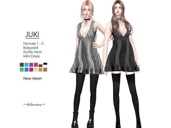 Sims 4 JUKI Babydoll Dress by Helsoseira at TSR