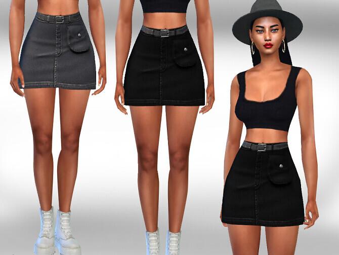 Front Pocket Denim Skirt by Saliwa