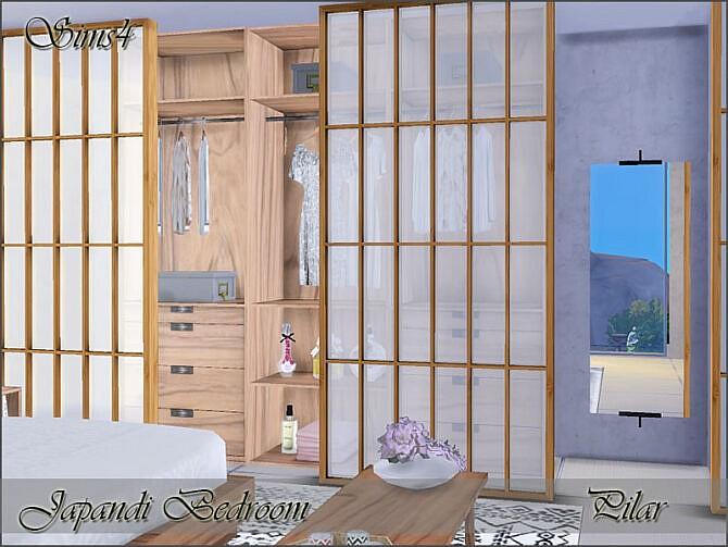 Sims 4 Japandi Bedroom by Pilar at TSR