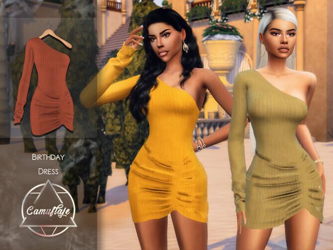 Sims 4 Birthday Dress by Camuflaje at TSR