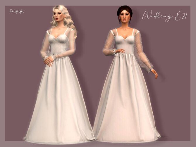 Sims 4 Wedding Dress DR 392 by laupipi at TSR