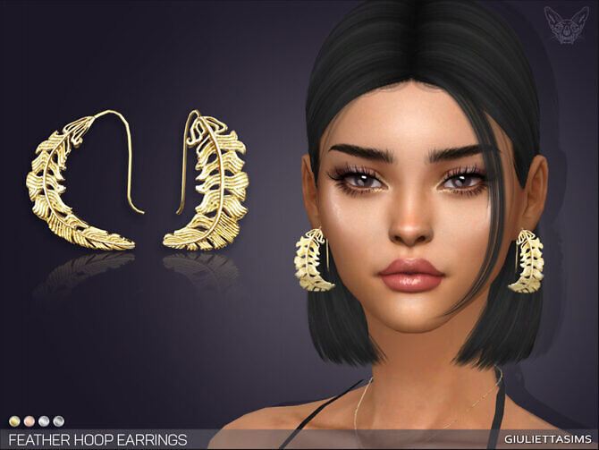 Sims 4 Feather Hoop Earrings by feyona at TSR