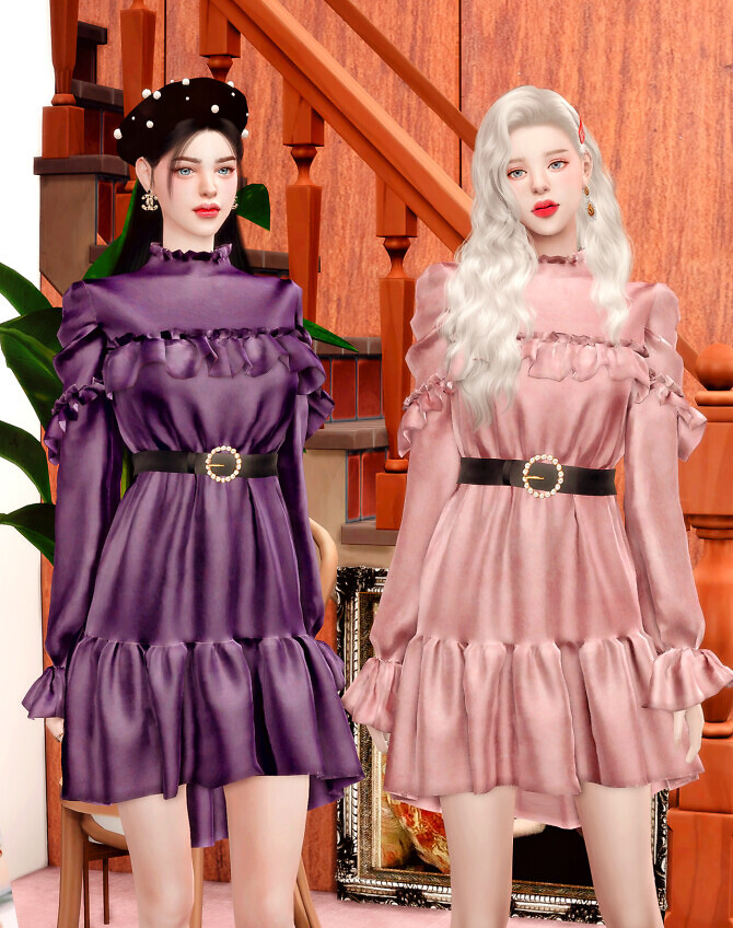 Sims 4 Pearl Belt & Frill Velvet Dress at RIMINGs
